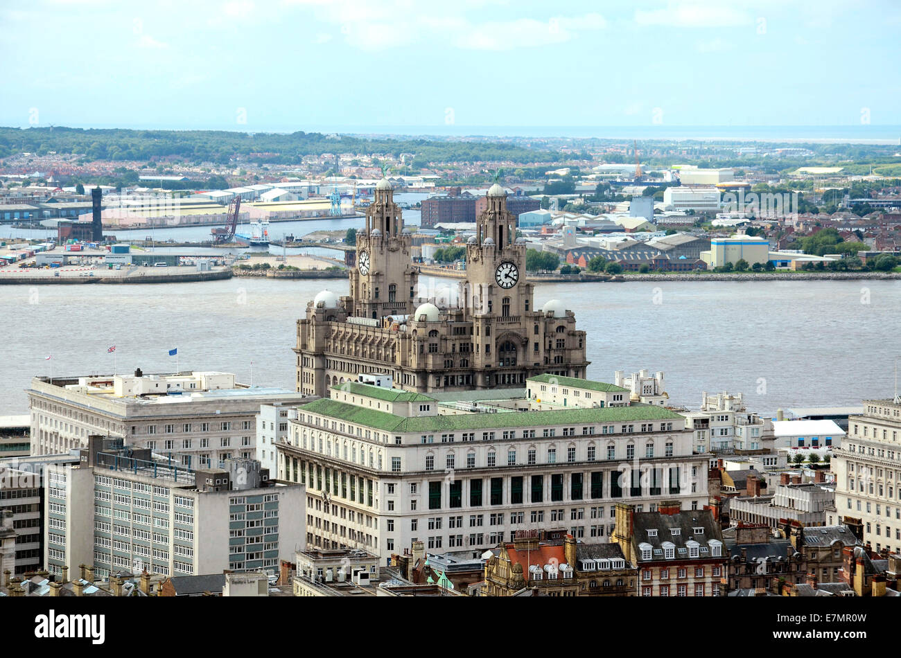 The Liver building and the river Mersey viewed from St.Georges tower in the city centre of Liverpool, England, Uk - Stock Image