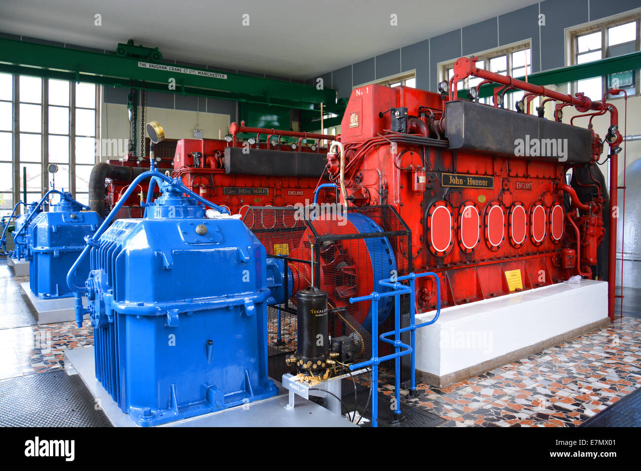 Marine diesel engine at Pode Hole Pumping Station in South Lincolnshire  used to control water levels