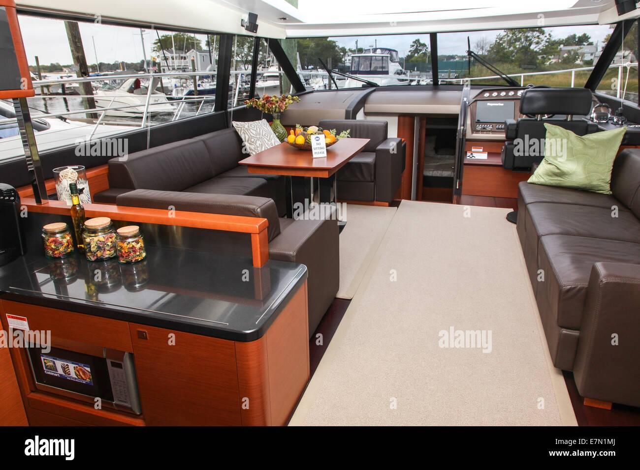 NORWALK, CT - SEPTEMBER 21: Prestige 620 S boat at Norwalk boat show in September 21, 2014 in Norwalk, CT. - Stock Image