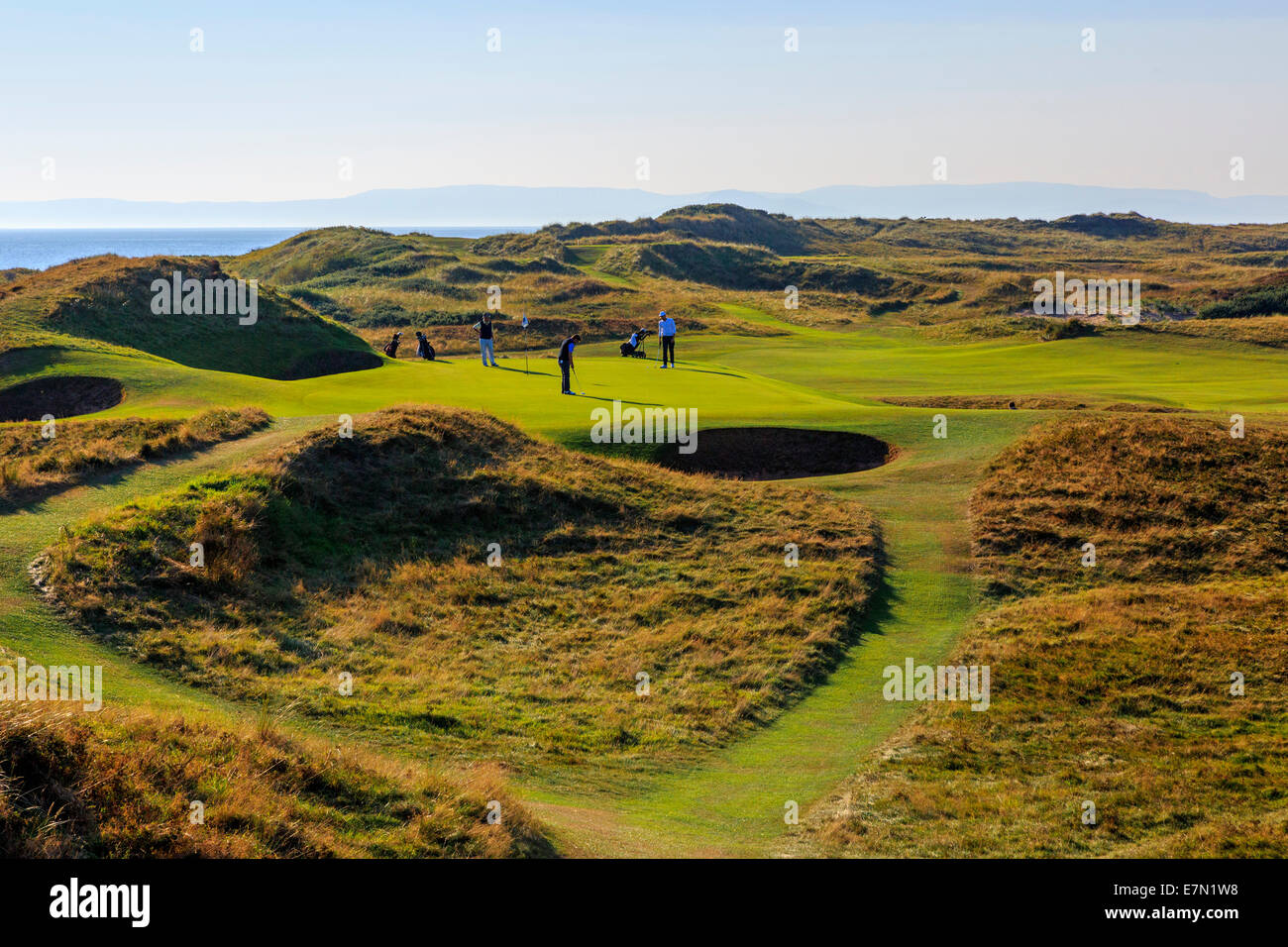 Signature hole, The Postage Stamp, the 8th, at Royal Troon Golf Club, Troon, Ayrshire, Scotland, UK - Stock Image