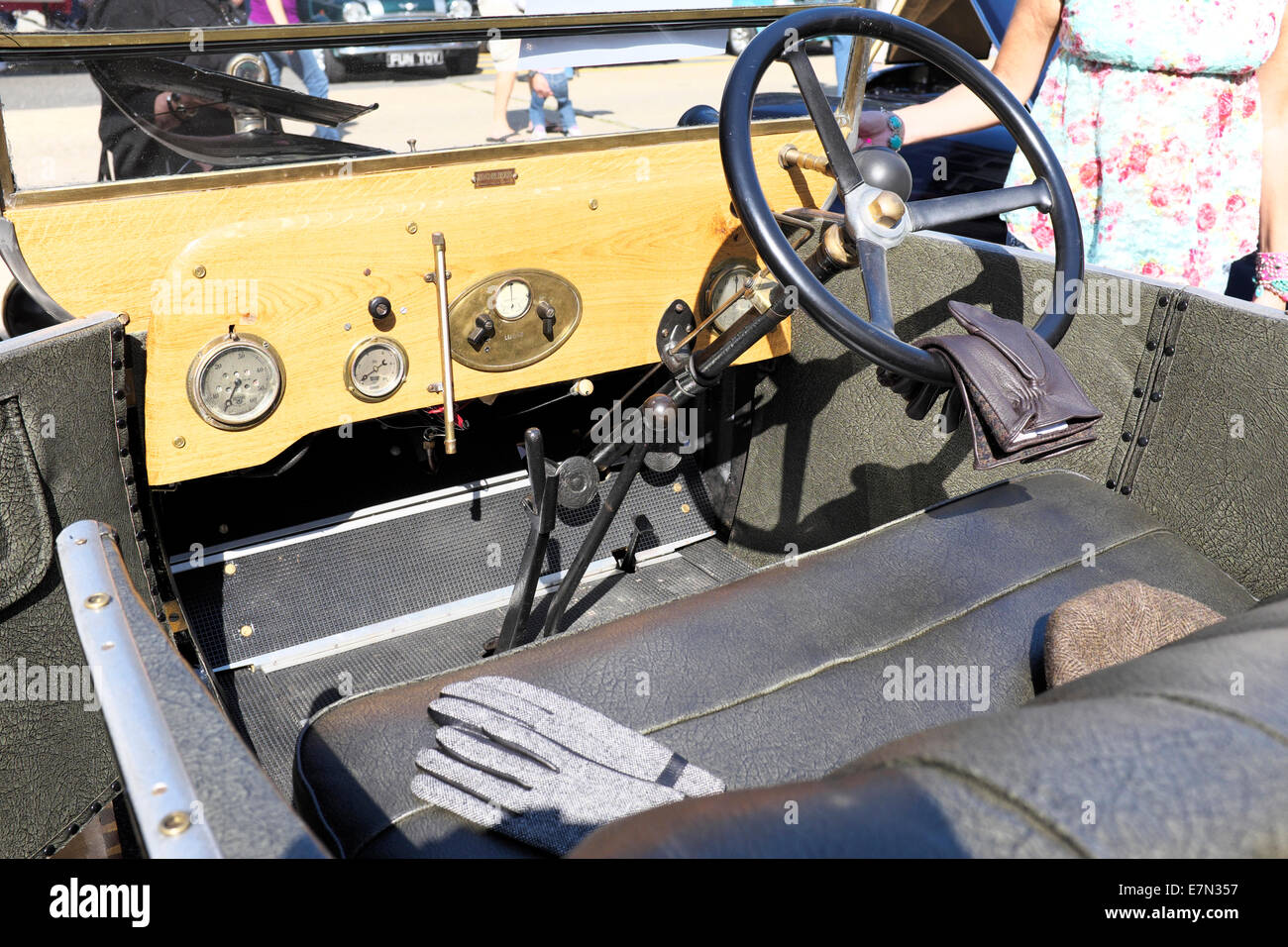 Interior of 1924 Morris Motors Automobile at Brits on the beach car show in Ocean Grove, NJ - Stock Image