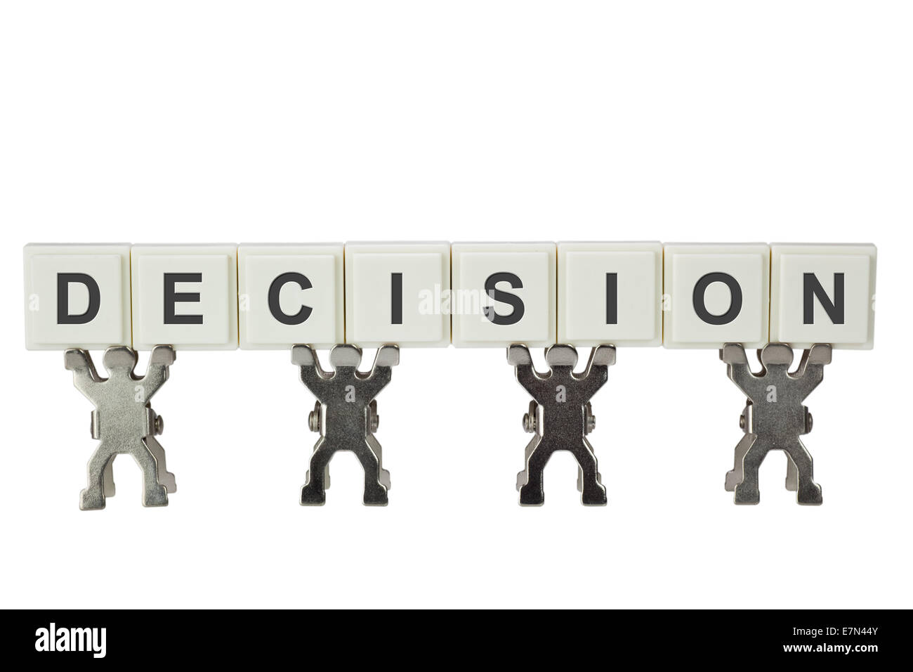 Group of figurines with the word DECISION isolated on white background - Stock Image