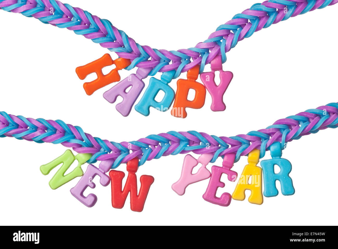 Colorful rubber band bracelet with the words HAPPY NEW YEAR isolated on white background - Stock Image