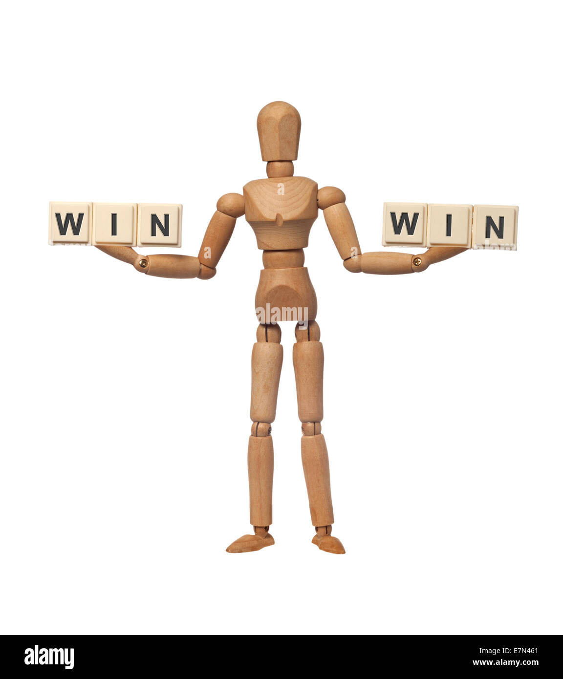 Figurine with the word WIN on both hands depicting a win-win situation - Stock Image