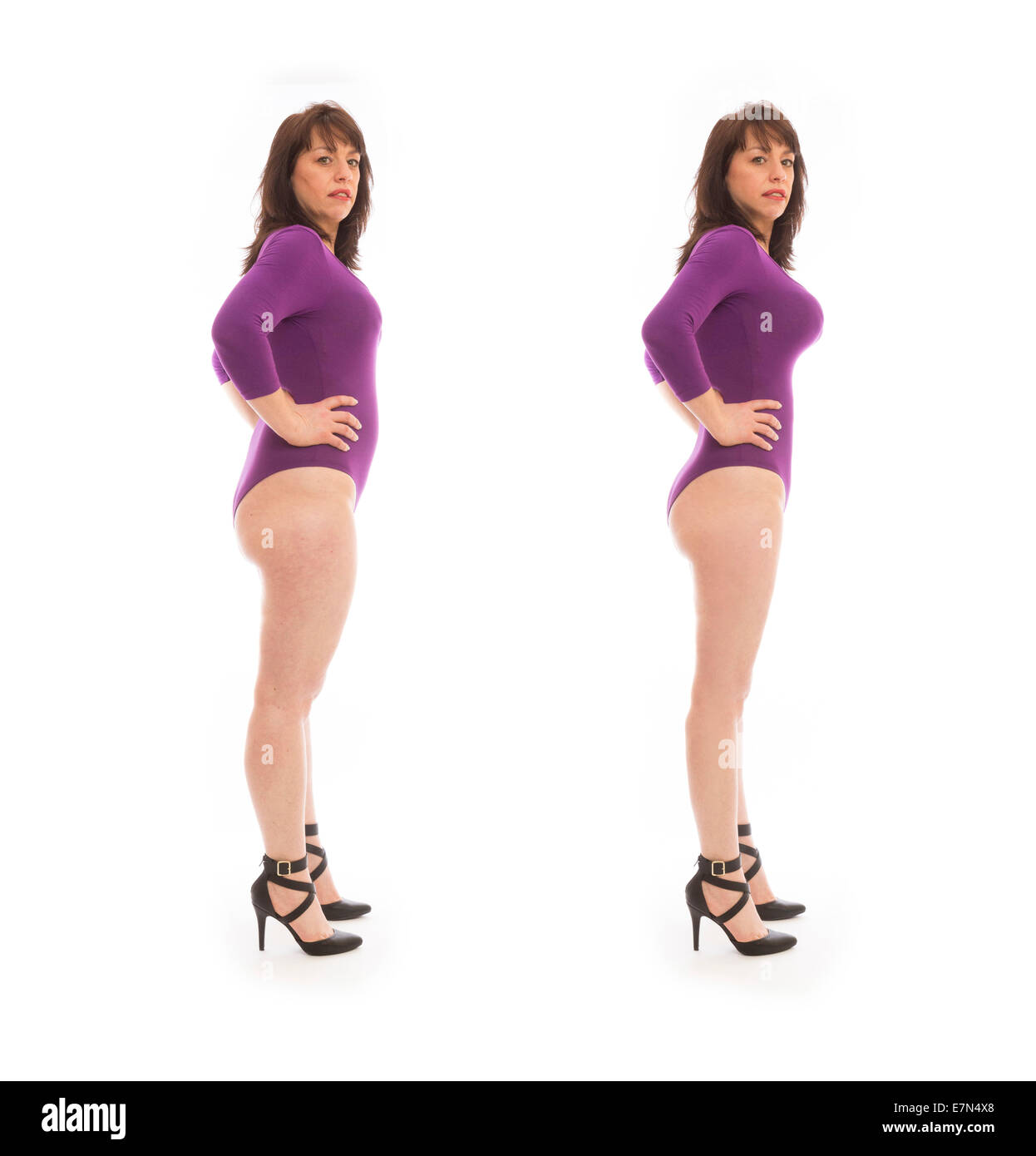 before and after example of Photoshopped photo of a woman - Stock Image