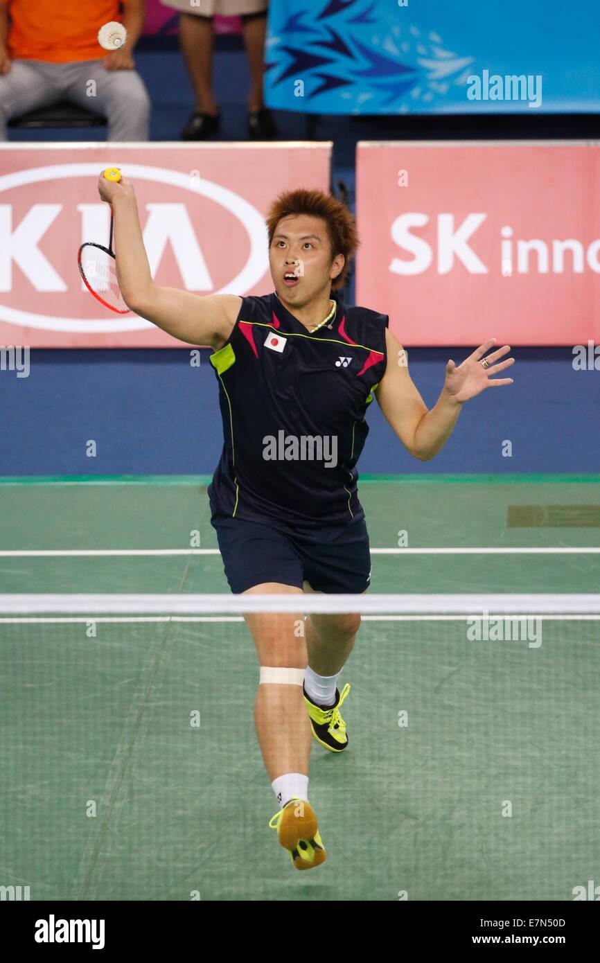 Incheon, South Korea. 21st Sep, 2014. Kenichi Tago (JPN) Badminton : Men's Team Round 2 at Gyeyang Gymnasium during Stock Photo