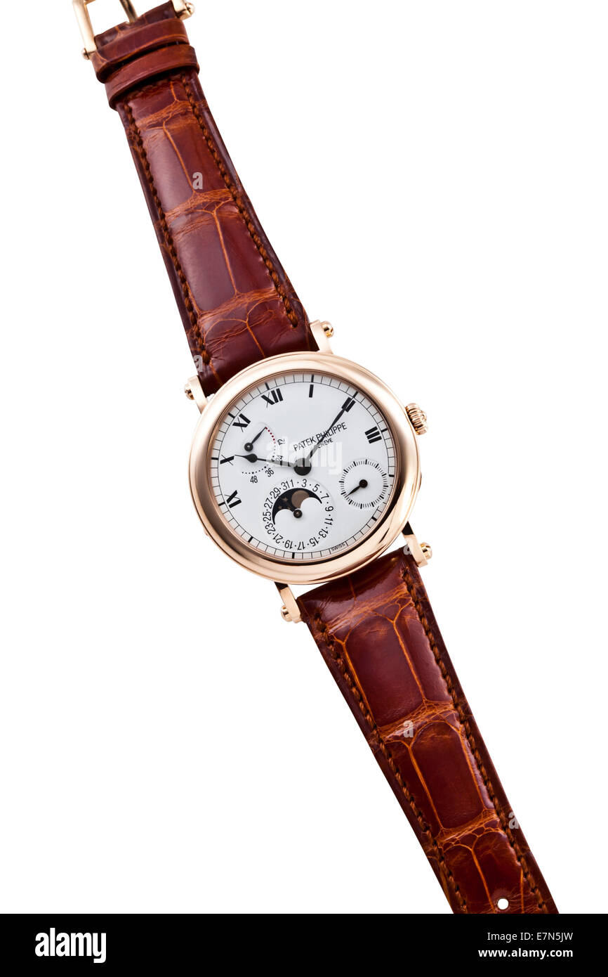 Patek Philippe Metallic Wrist Watch with Leather Strap - Stock Image