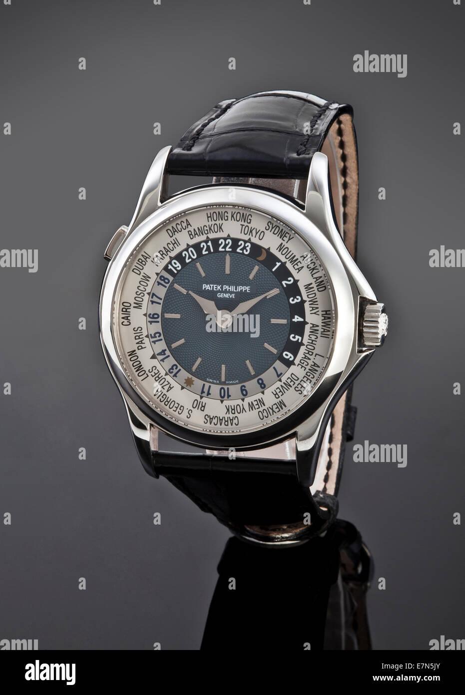 Patek Philippe Metallic Wrist Watch with Leather Strap - Stock Image