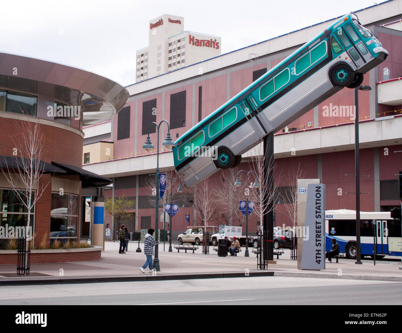 Bus on a pole in Reno Nevada - Stock Image