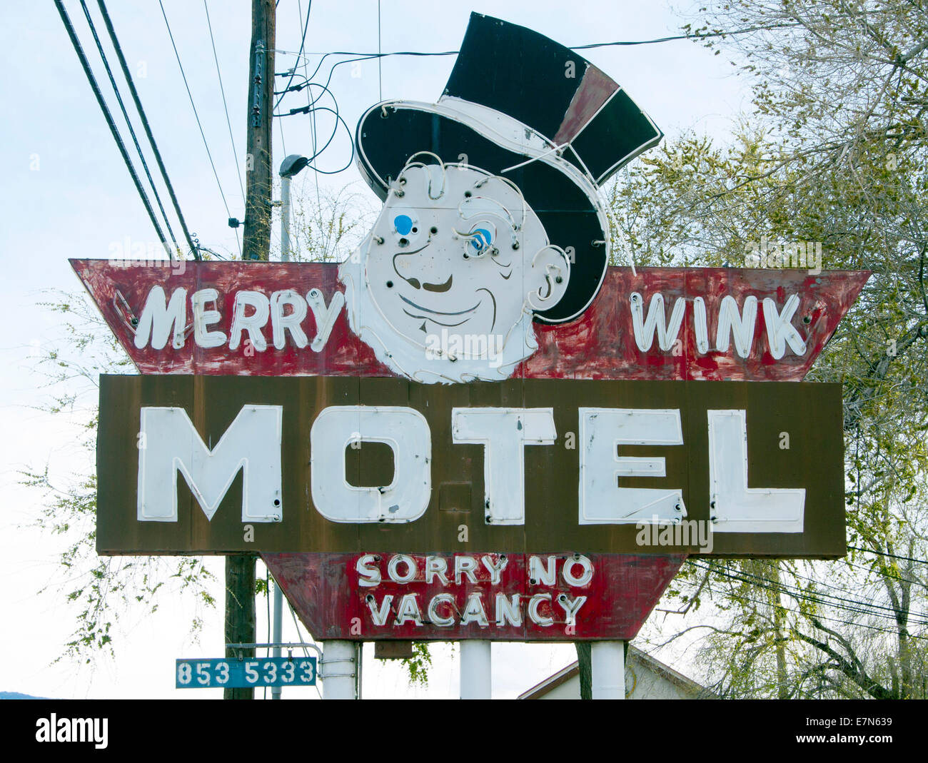 Merry Wink Motel sign in Reno Nevada - Stock Image