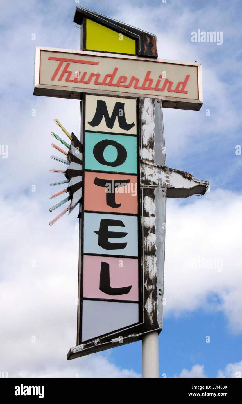 Thunderbird Motel sign in Reno Nevada - Stock Image
