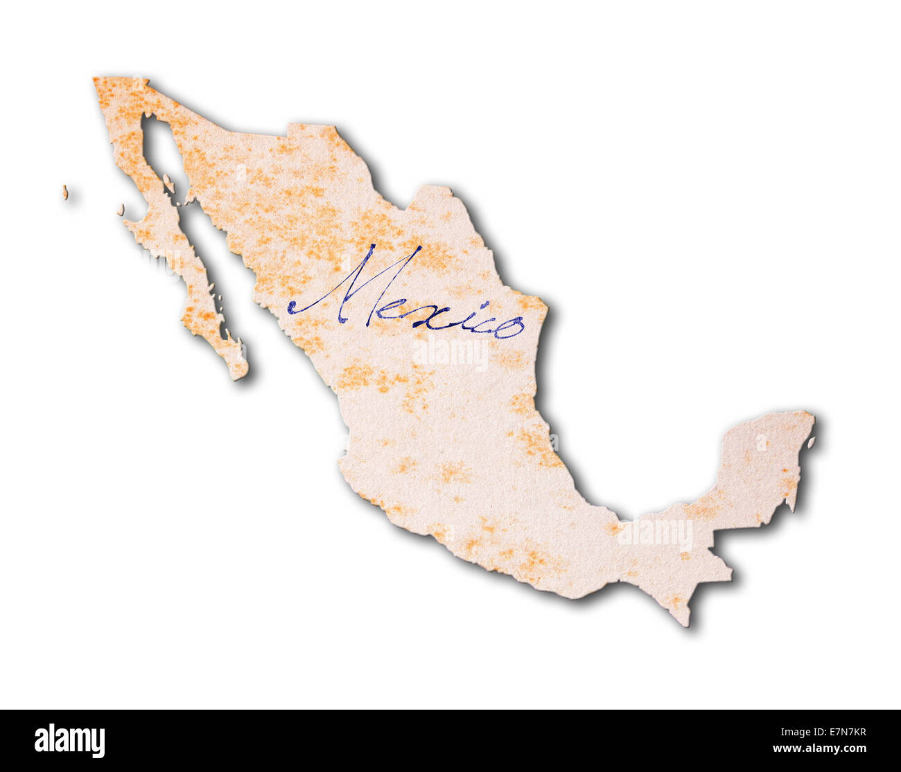 Old paper with handwriting, blue ink - Mexico - Stock Image