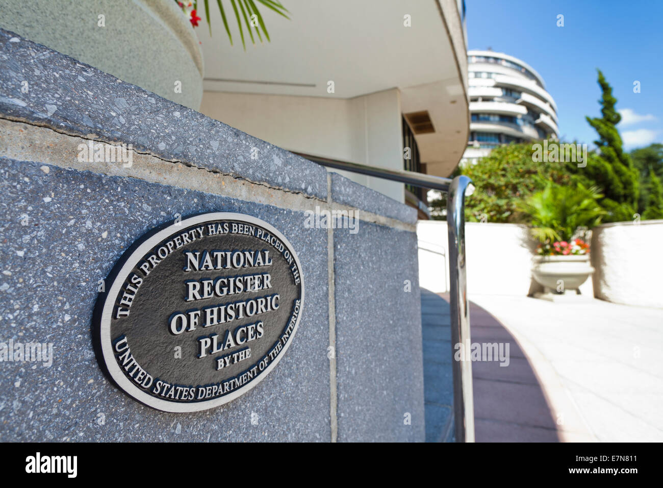 National Register of Historic Places plaque on the Watergate building - Washington, DC USA Stock Photo
