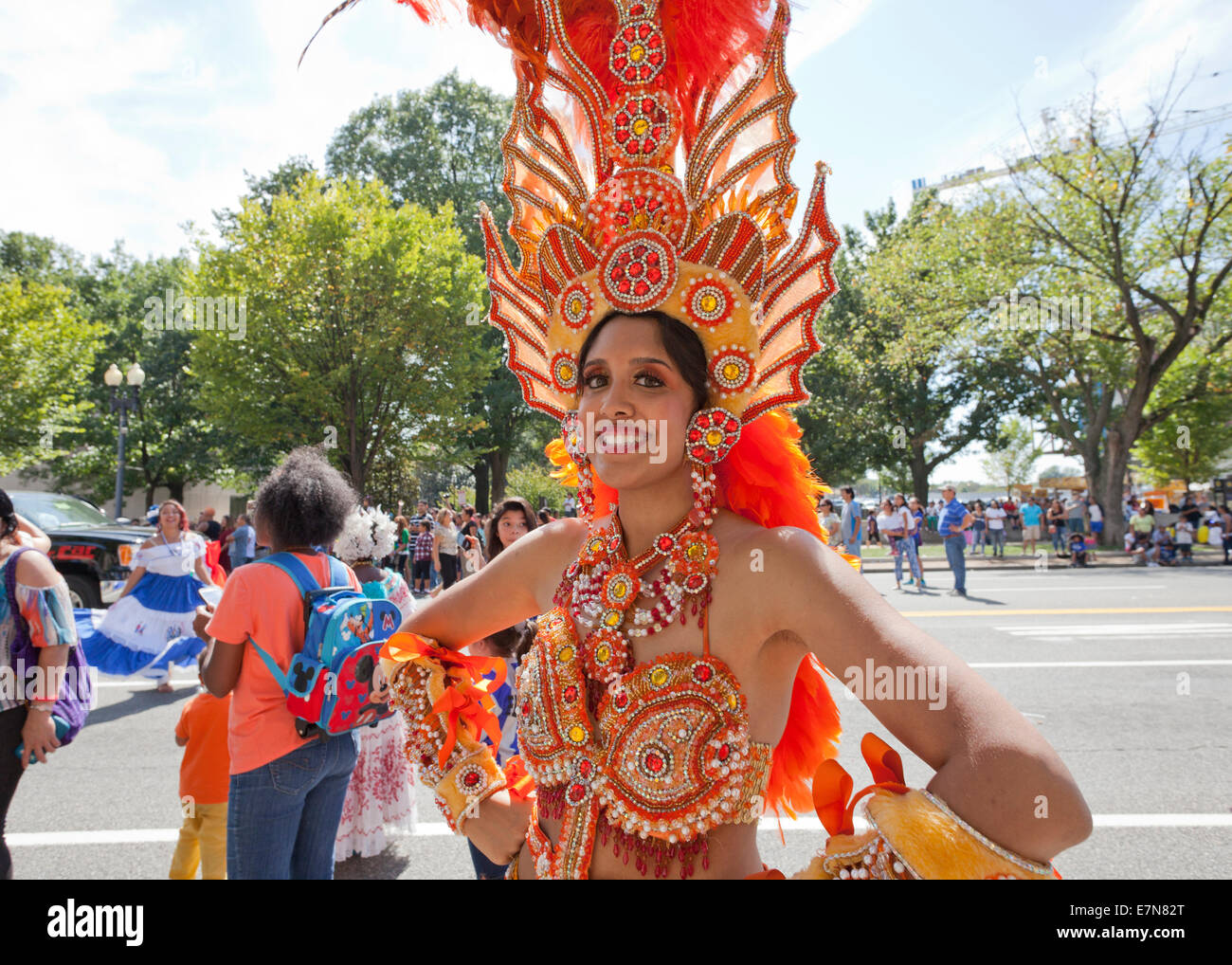 Female Brazilian Carnival Samba dancer in traditional costume - USA  sc 1 st  Alamy : brazilian carnival costumes for women  - Germanpascual.Com