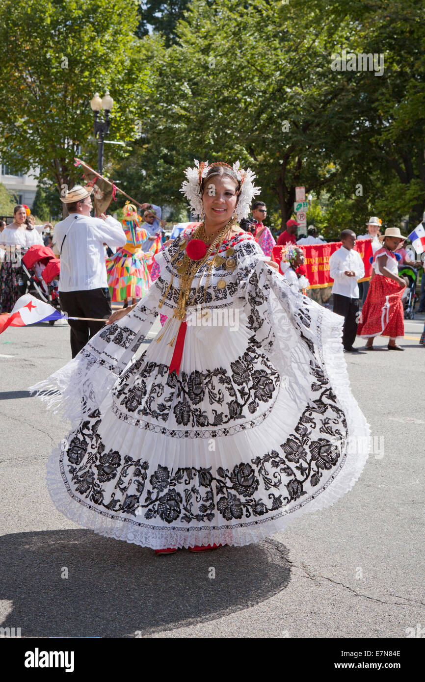 Dancer performing Jarabe Tapatio (Mexican Hat dance) at outdoor festival - Washington, DC USA - Stock Image