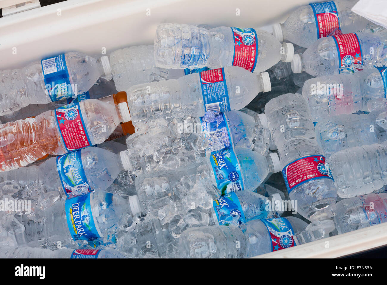 Bottled water in cooler - USA - Stock Image
