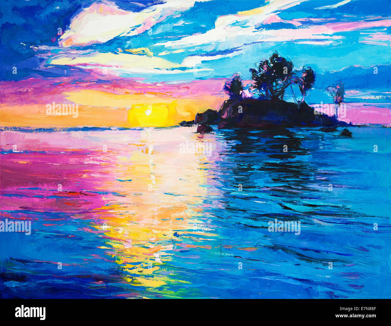 Original oil painting of lonely island and sea on canvas.Rich colorful Sunset over ocean.Modern Impressionism - Stock Image