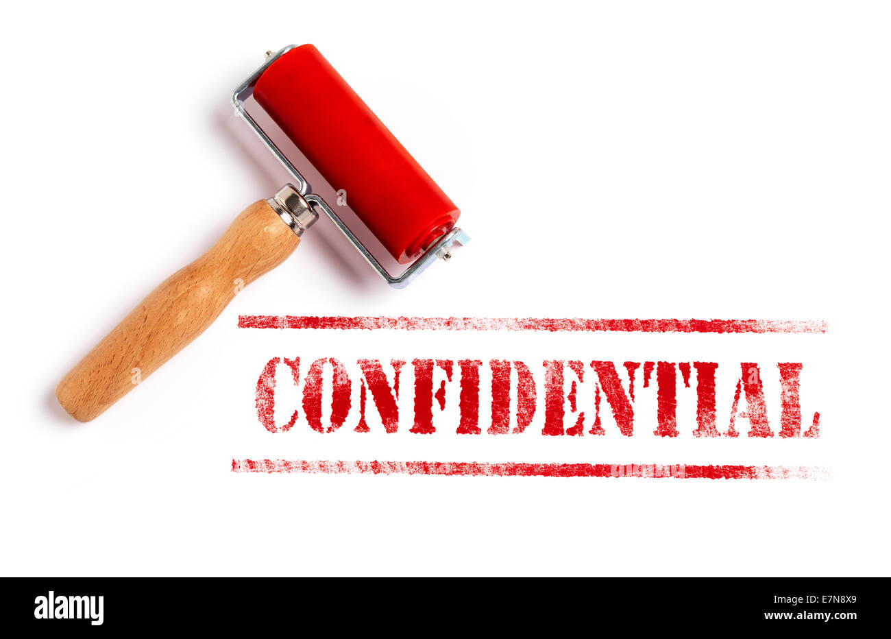 Confidential red ink with ink roller - Stock Image