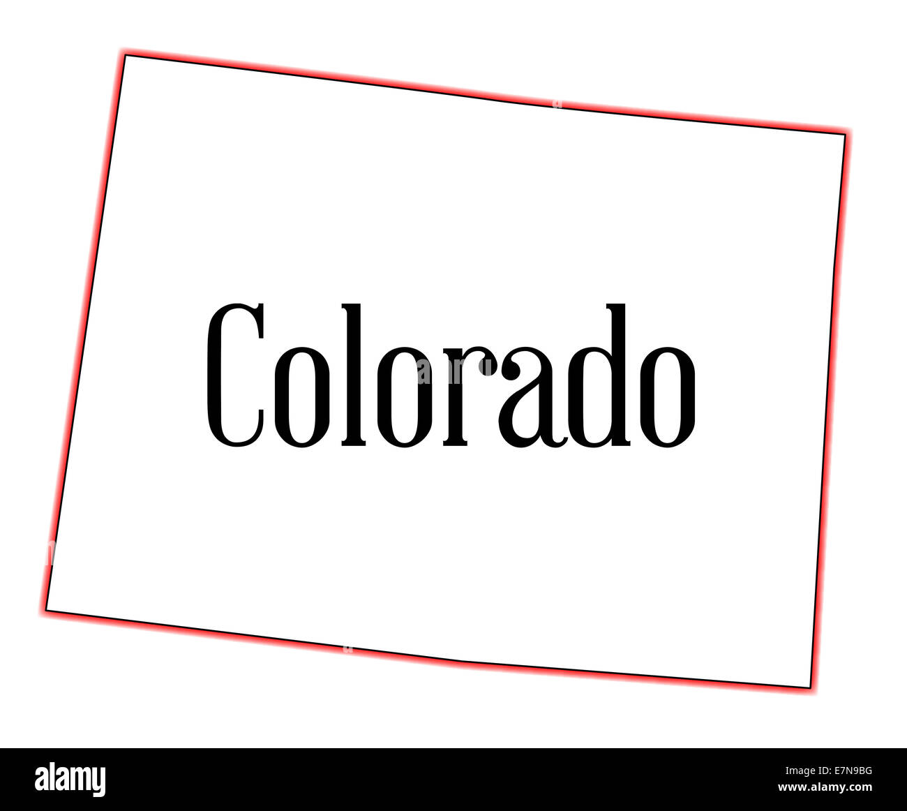 State map outline of Colorado over a white background Stock Photo