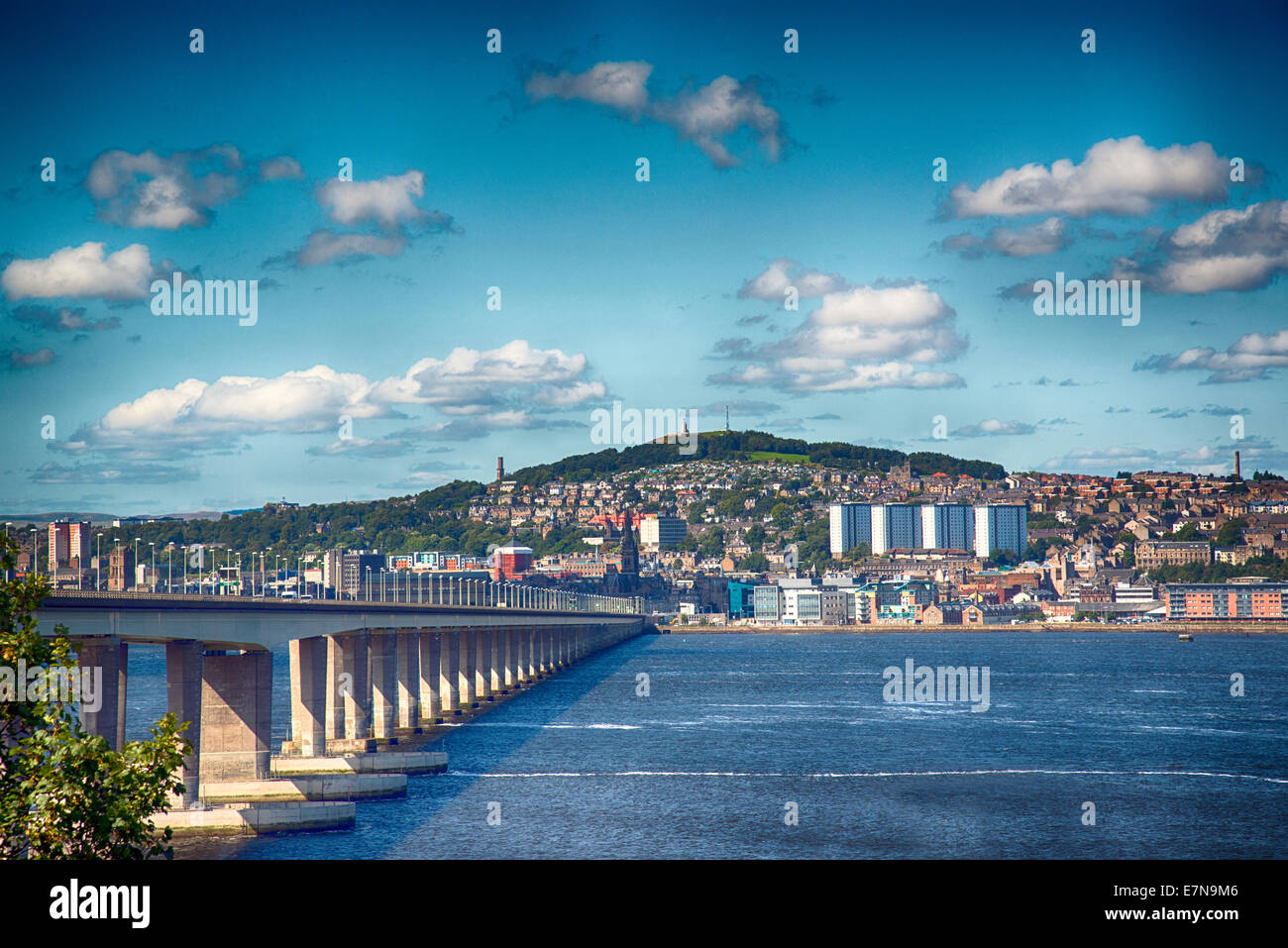 Looking North at the Tay Road Bridge, towards Dundee, Scotland - Stock Image