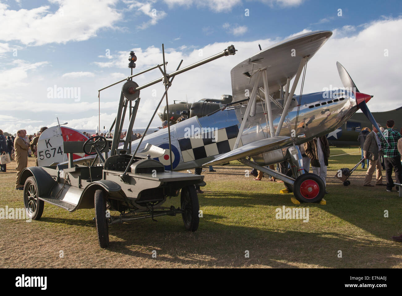 Silver bi plane - Stock Image