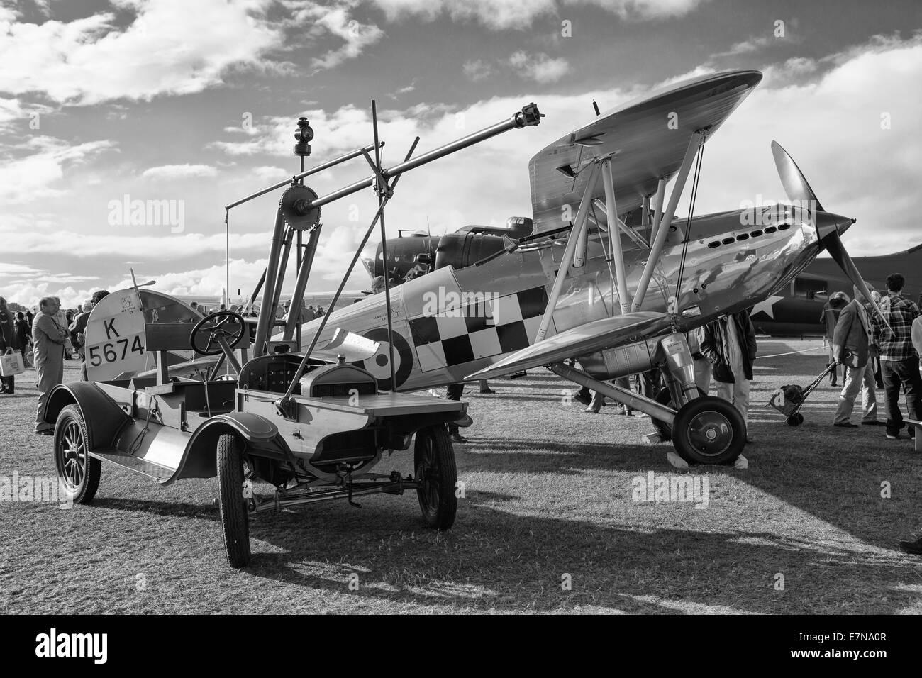 Silver bi plane in black and white - Stock Image