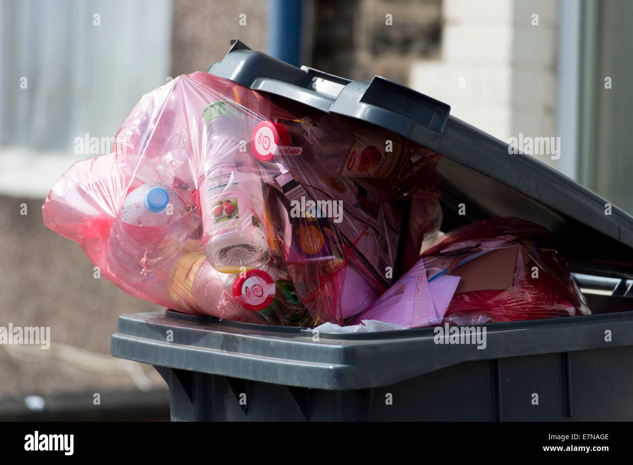 An overloaded green recycling bin full of rubbish in Cardiff, South Wales. - Stock Image