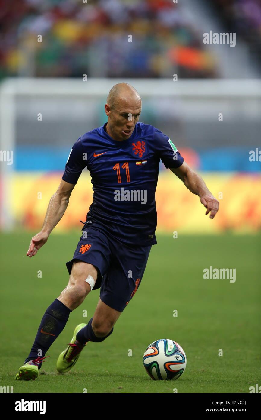 Arjen Robben. Spain v Holland. World Cup 2014. Fonte Nova stadium, Bahia, Brazil - Stock Image