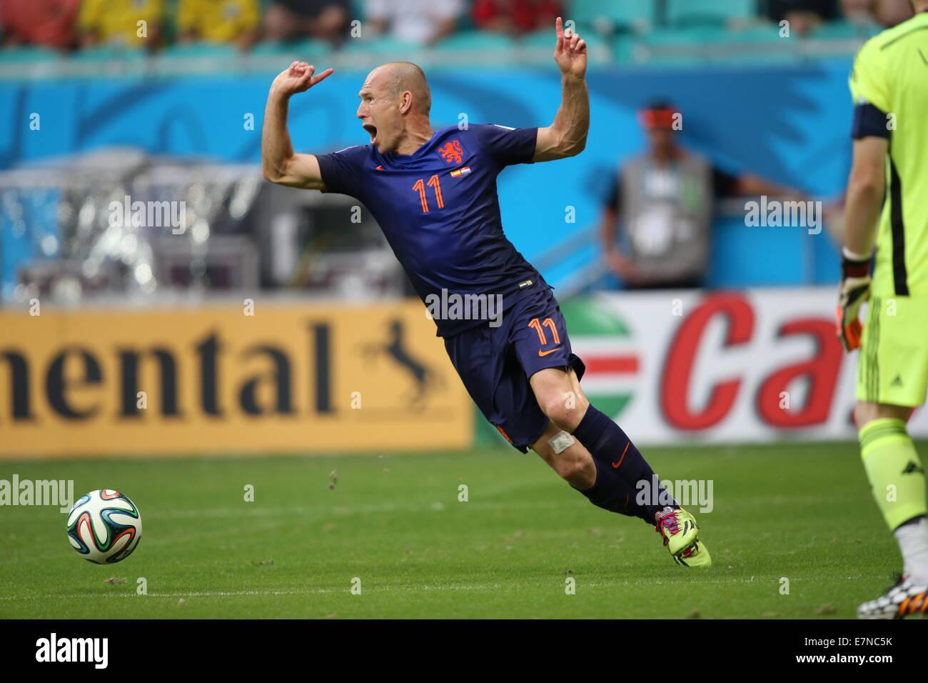 Arjen Robben Spain v Holland. World Cup 2014. Fonte Nova stadium, Bahia, Brazil - Stock Image