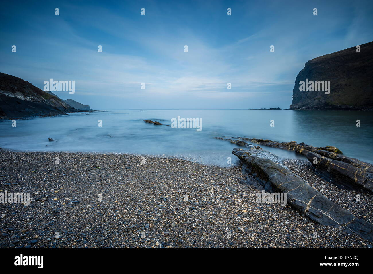 Crackington haven low tide North Cornwall - Stock Image
