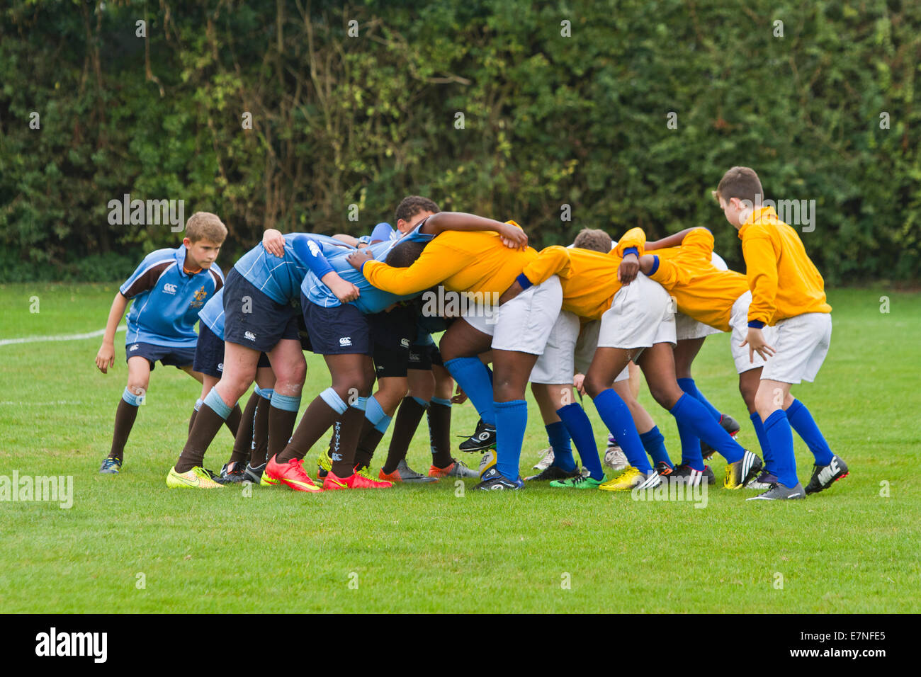 school children playing rugby in the United Kimgdom - Stock Image