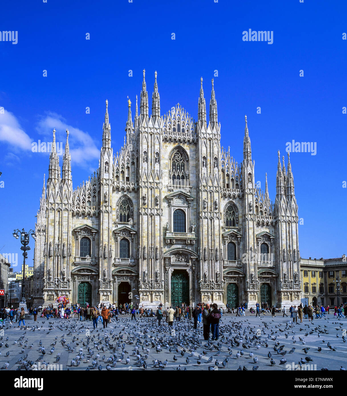 Duomo cathedral and Piazza square Milan Lombardy Italy - Stock Image