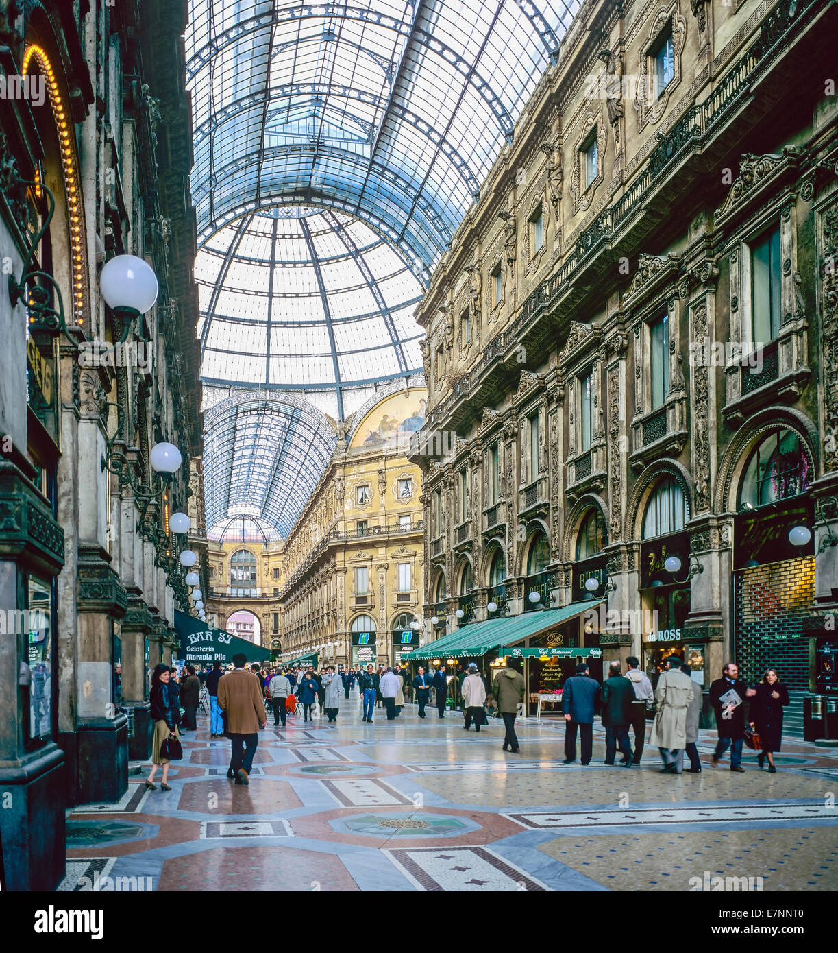 Galleria Vittorio Emanuele II shopping arcade Milan Lombardy Italy - Stock Image
