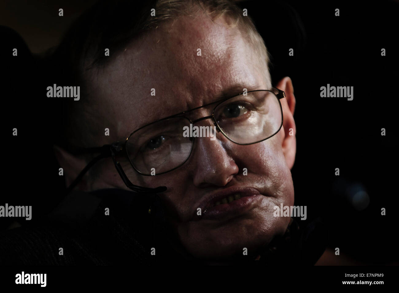 Professor Stephen Hawking at the Premier of the biopic of his life, 'Hawking' - Stock Image