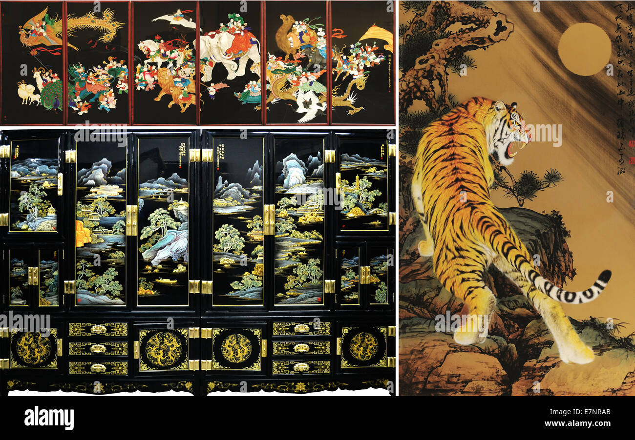 Pingyao. 20th Sep, 2014. The combined photo taken on Sept. 20, 2014 shows pieces of lacquerware in Pingyao, north Stock Photo