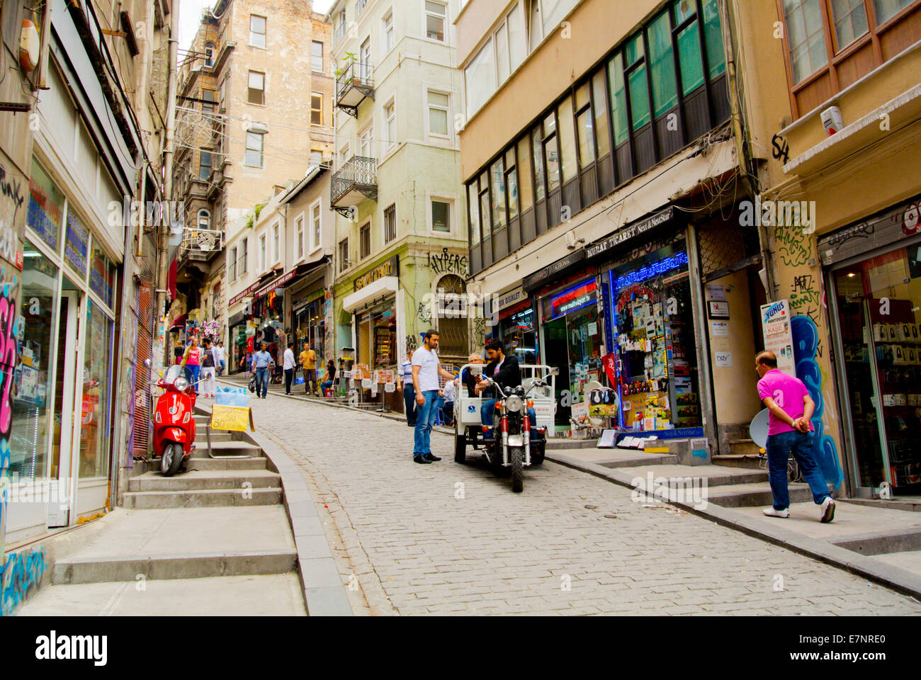 Steep hill towards Galata bridge from Galata tower, Beyoglu district, Istanbul, Turkey, Asia Minor - Stock Image