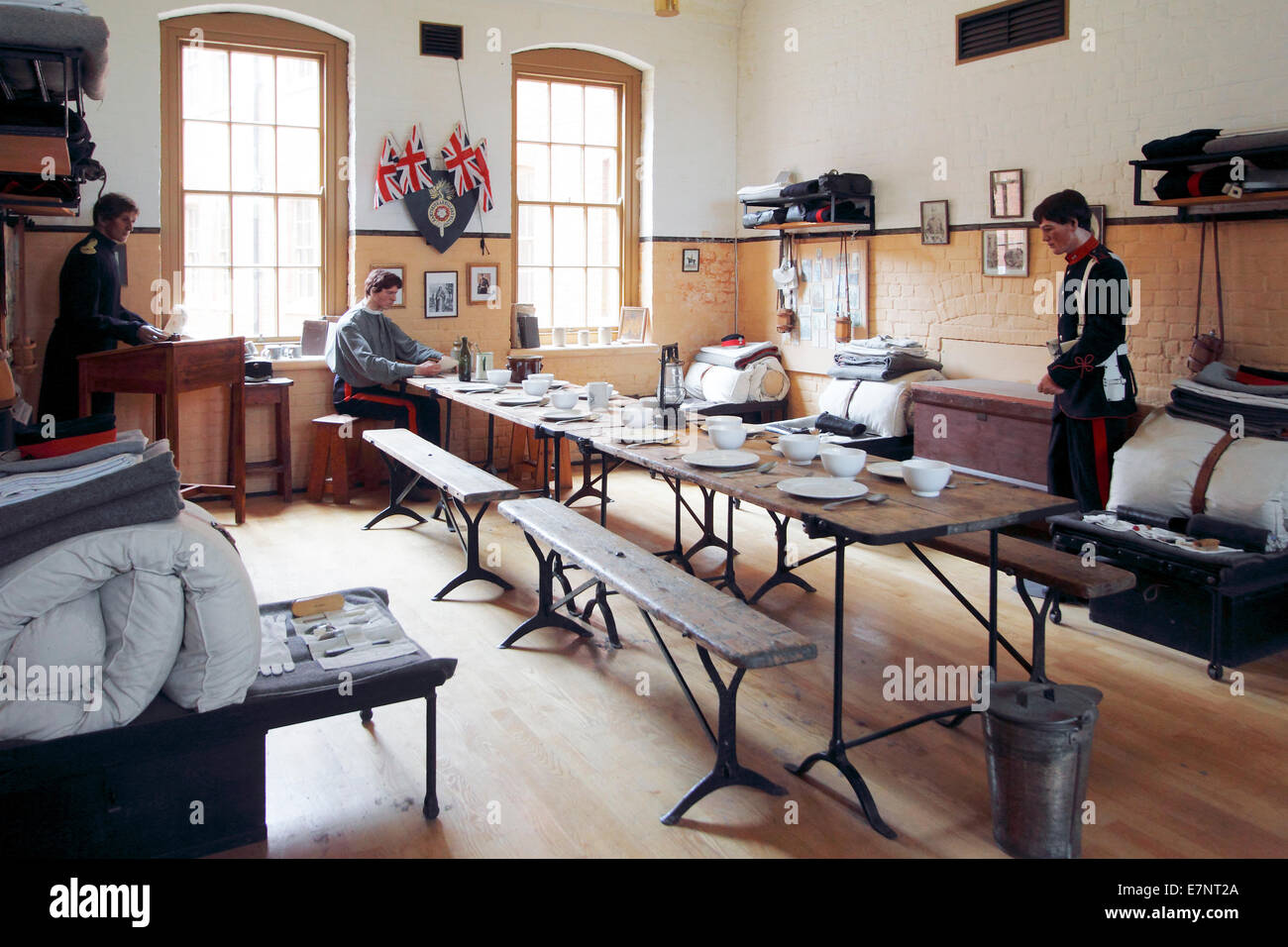 Soldiers barrack room Fort Nelson - Stock Image