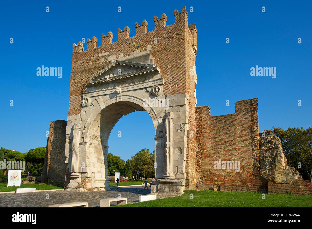 Adriatic, Italy, Europe, outside, day, nobody, Emilia-Romagna, Augustus arch, triumphal arch, building, architecture, - Stock Image