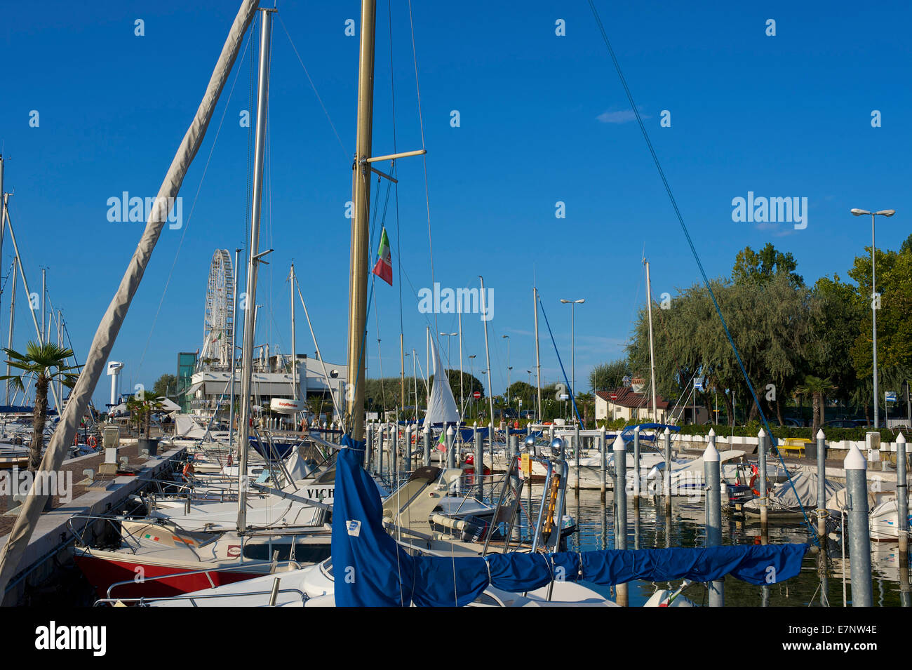 Adriatic, Italy, Europe, outside, day, nobody, Emilia-Romagna, Rimini, yacht harbour, harbour, port, boats, sail - Stock Image