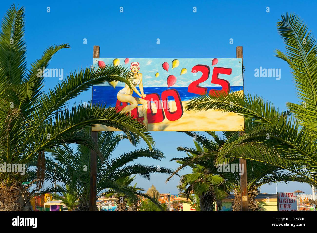 Adriatic, Italy, Europe, outside, day, nobody, Emilia-Romagna, beach, seashore, Rimini, Lido, tip, sign, - Stock Image