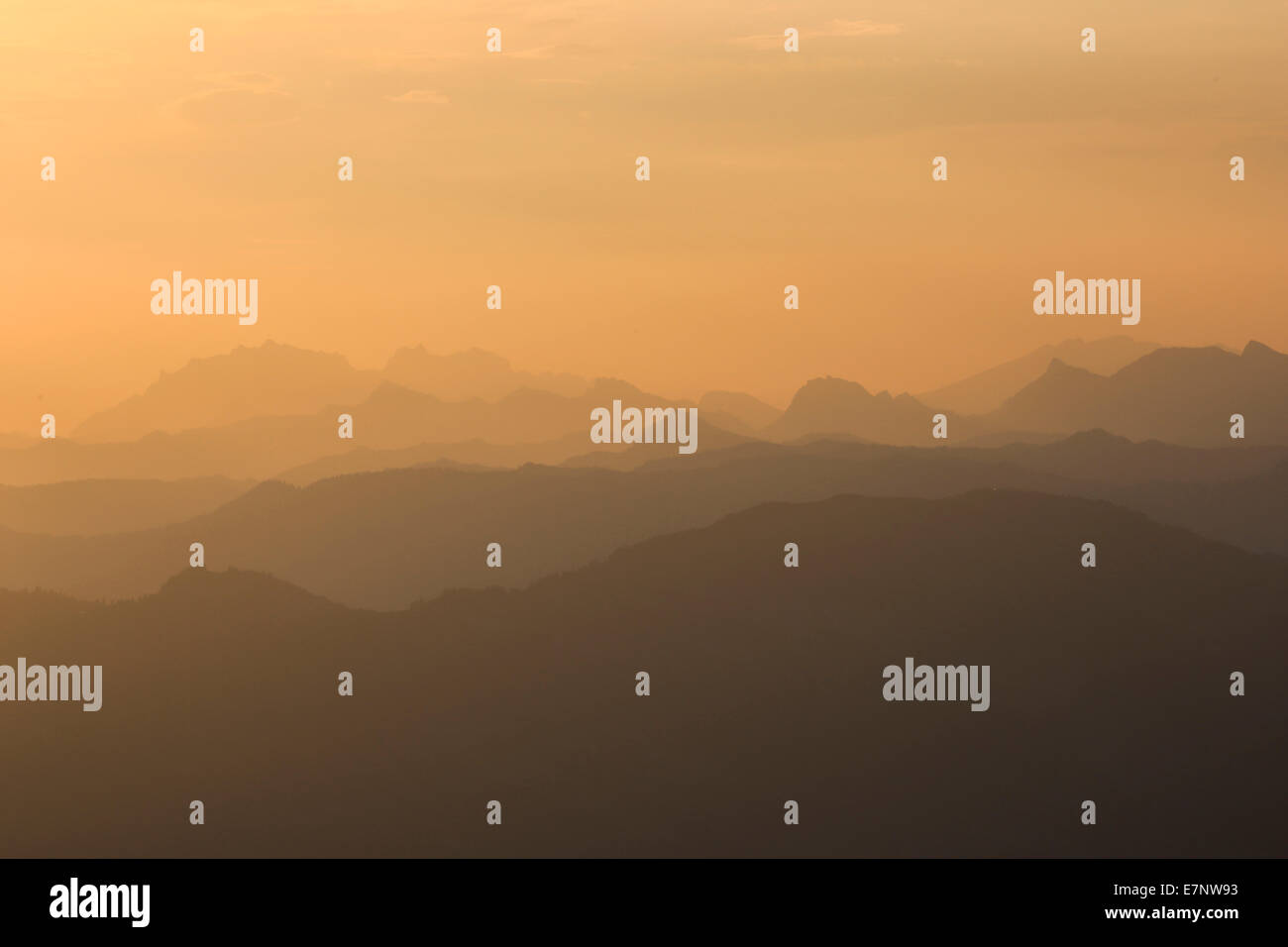 Alps, rising, view, view from Pilatus, mountain, mountain panorama, mountains, mist, background, morning, panorama, - Stock Image