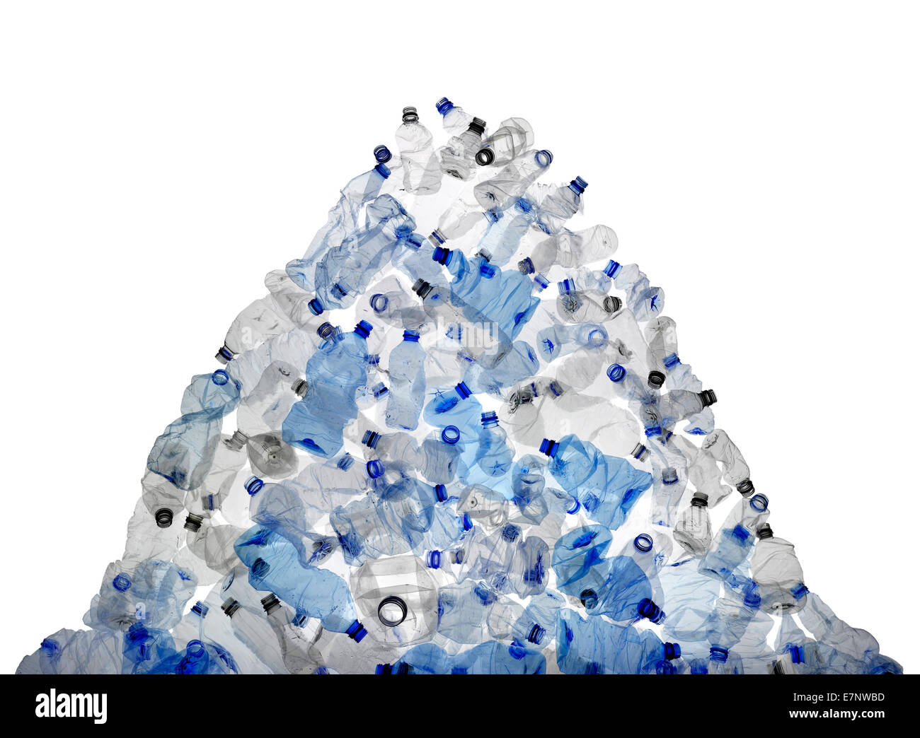 A large mound of discarded plastic bottles - Stock Image