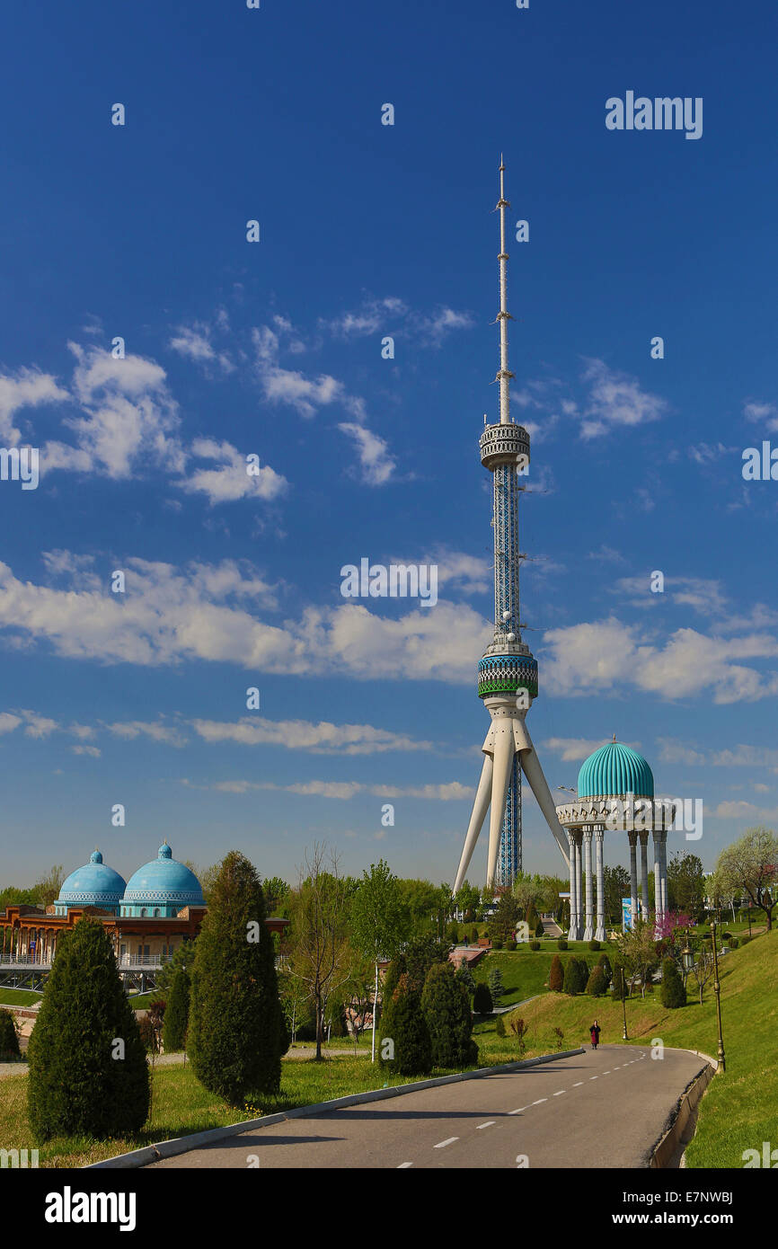 Tashkent, City, Tashkent, TV, television, Uzbekistan, Central Asia, Asia, architecture, blue, communication, domes, - Stock Image