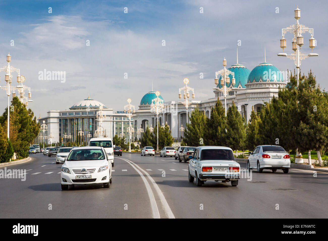 Ashgabat, City, Ruhyet, Turkmenistan, Central Asia, Asia, avenue, blue, domes, downtown, palace, road, traffic - Stock Image