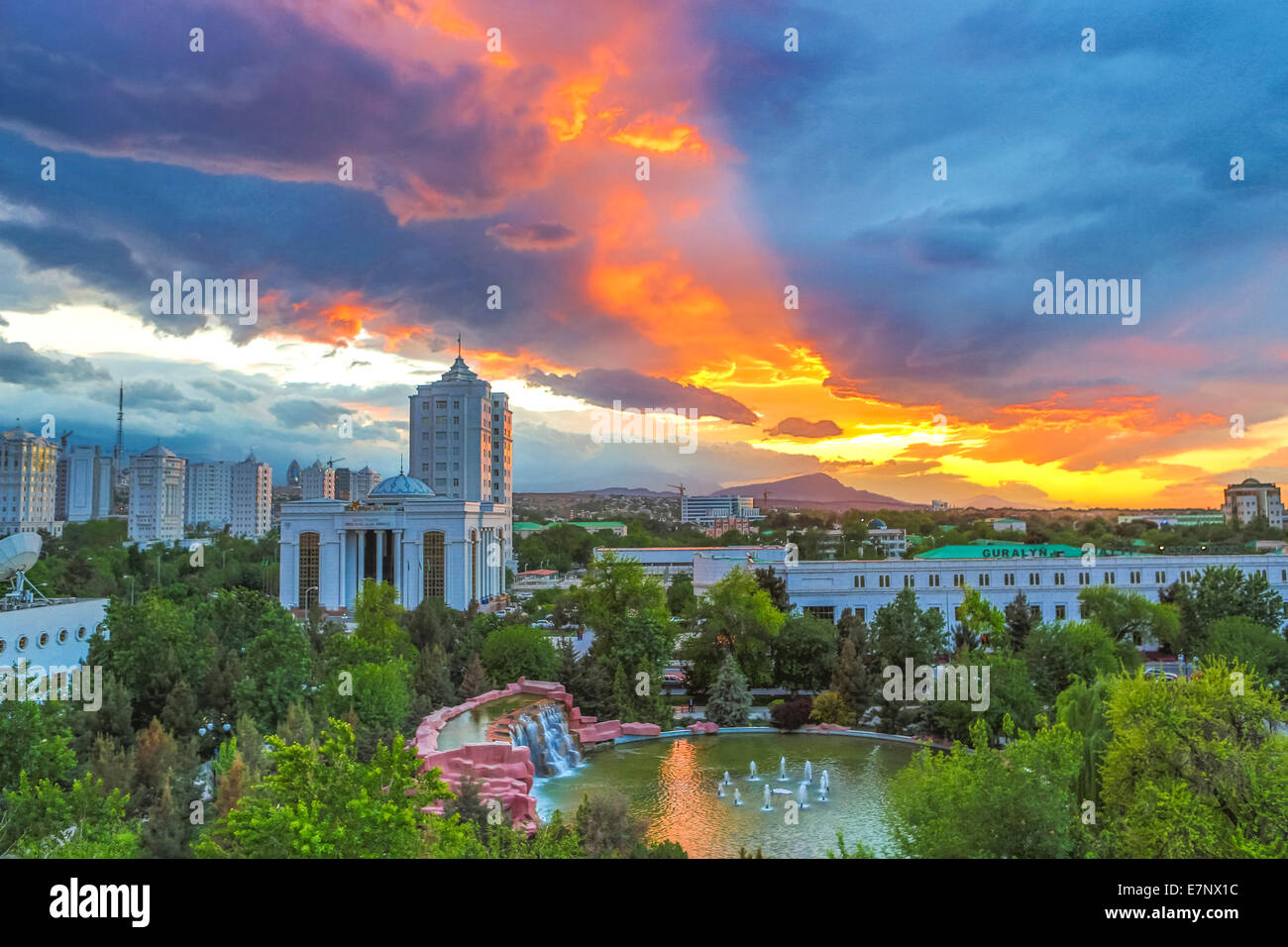Ashgabat, Turkmenistan, Central Asia, Asia, city, colourful, downtown, dramatic, sunset - Stock Image