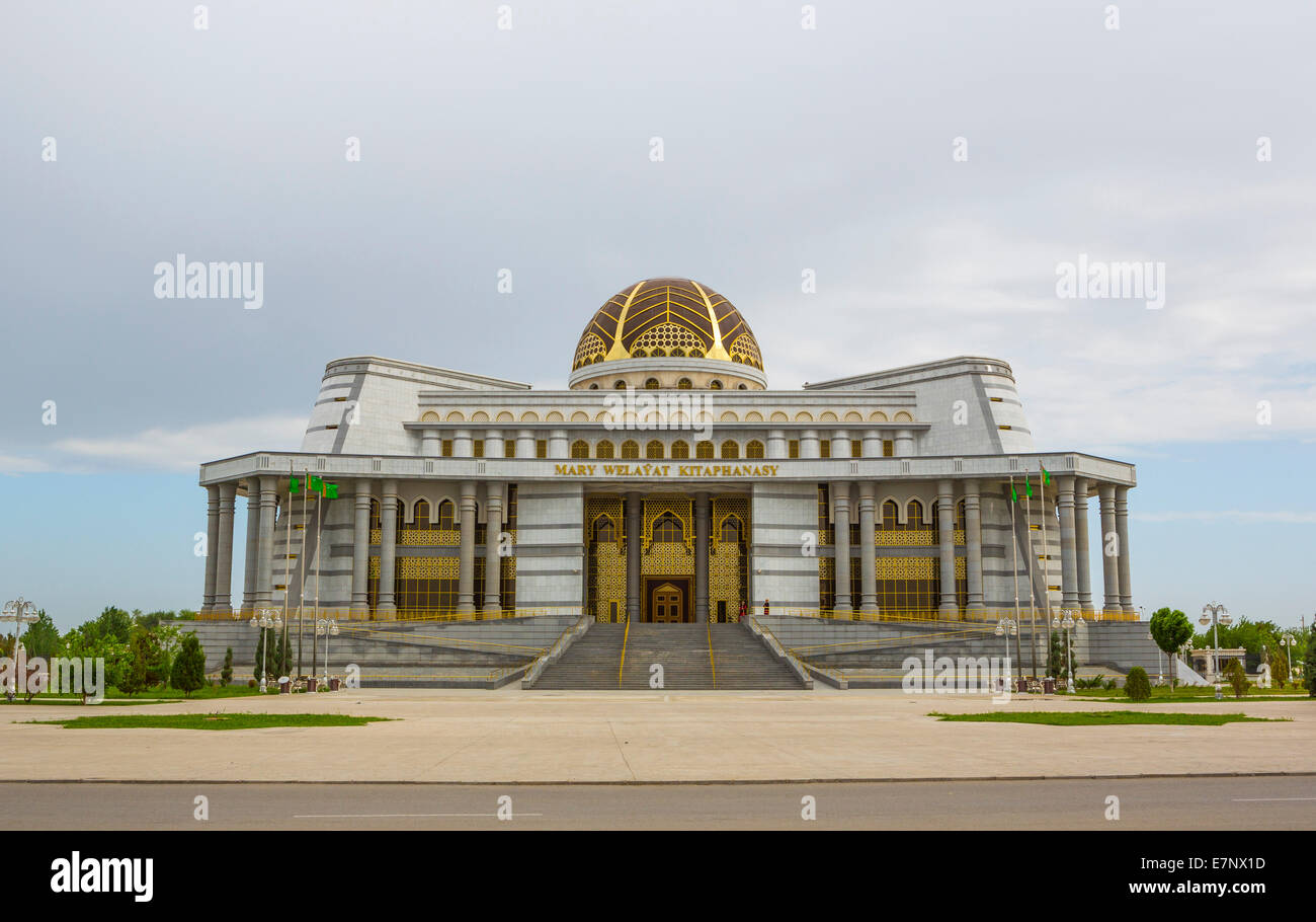 Building, Library, Mary, Turkmenistan, Central Asia, Asia, architecture, city, culture, dome, touristic, travel - Stock Image