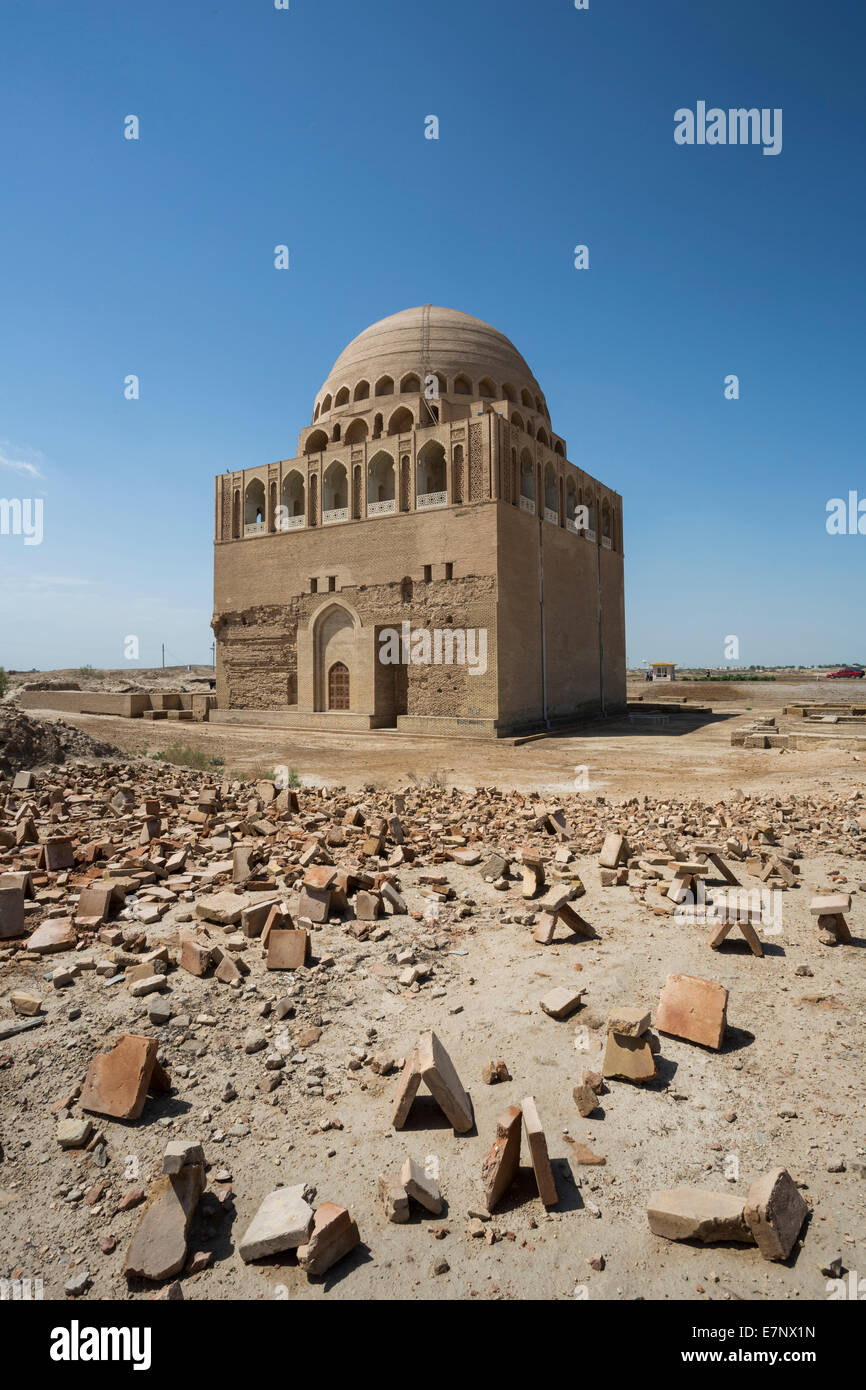 Ancient, Mausoleum, Merv, Sultan Sanjar, Turkmenistan, Central Asia, Asia, archaeology, architecture, city, culture, - Stock Image