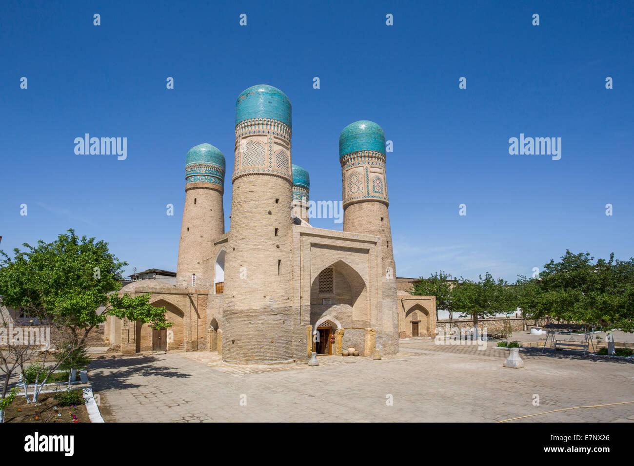 world heritage, Bukhara, Chor Minor, Madrasah, Uzbekistan, Central Asia, Asia, architecture, city, colourful, famous, - Stock Image