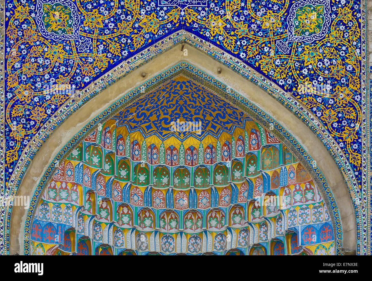 world heritage, Abdul Aziz, Bukhara, Medressah, Uzbekistan, Central Asia, Asia, architecture, city, colourful, history, - Stock Image