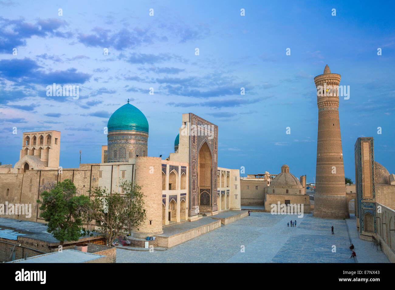 world heritage, Bukhara, Kalon, Medressah, Miri Arab, Uzbekistan, Central Asia, Asia, architecture, city, colourful, - Stock Image